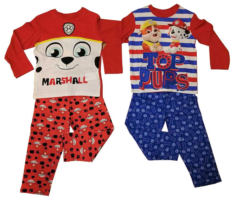 Paw Patrol 2er Set Pyjama lang Rubble und Marshall blau/rot für Kinder (Auswahl)