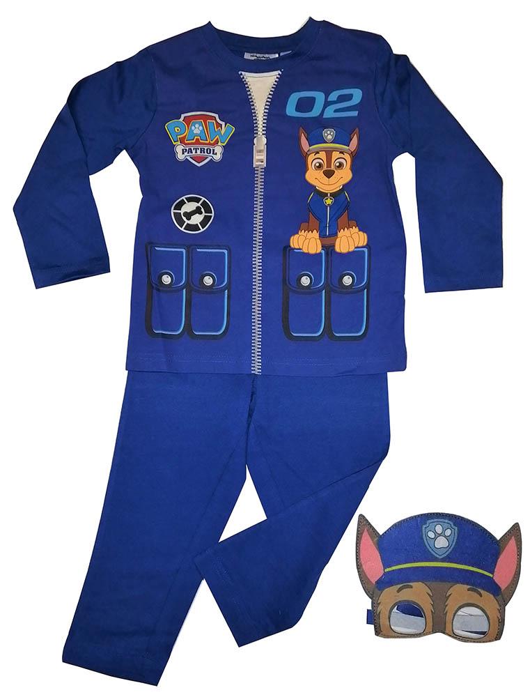 Paw Patrol Schlafanzug Chase Polizei-Pyjama mit Maske blau für Kinder Größe 110
