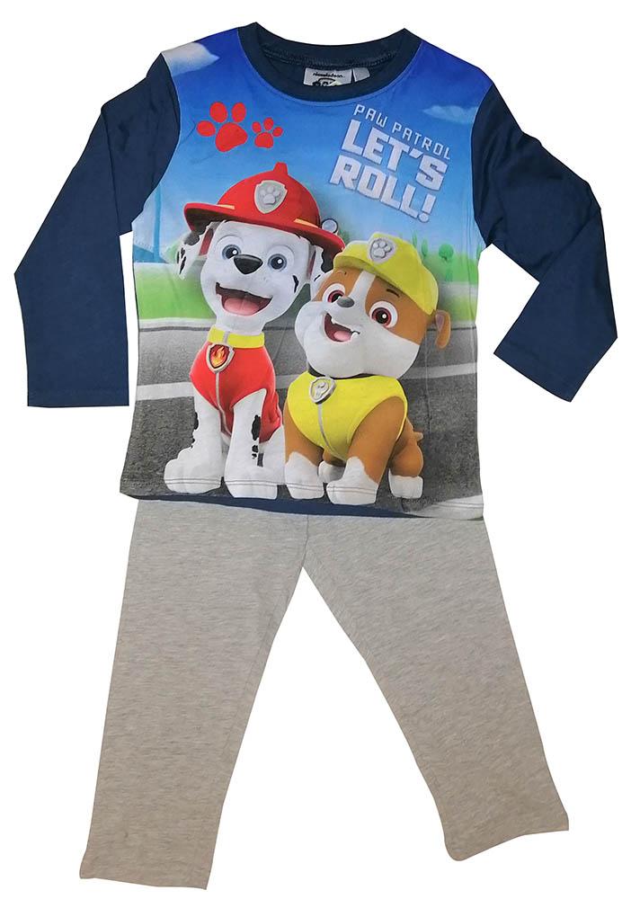 Paw Patrol Schlafanzug Marshall Rubble Let´s Roll Kinder Pyjama Lang Größe 116