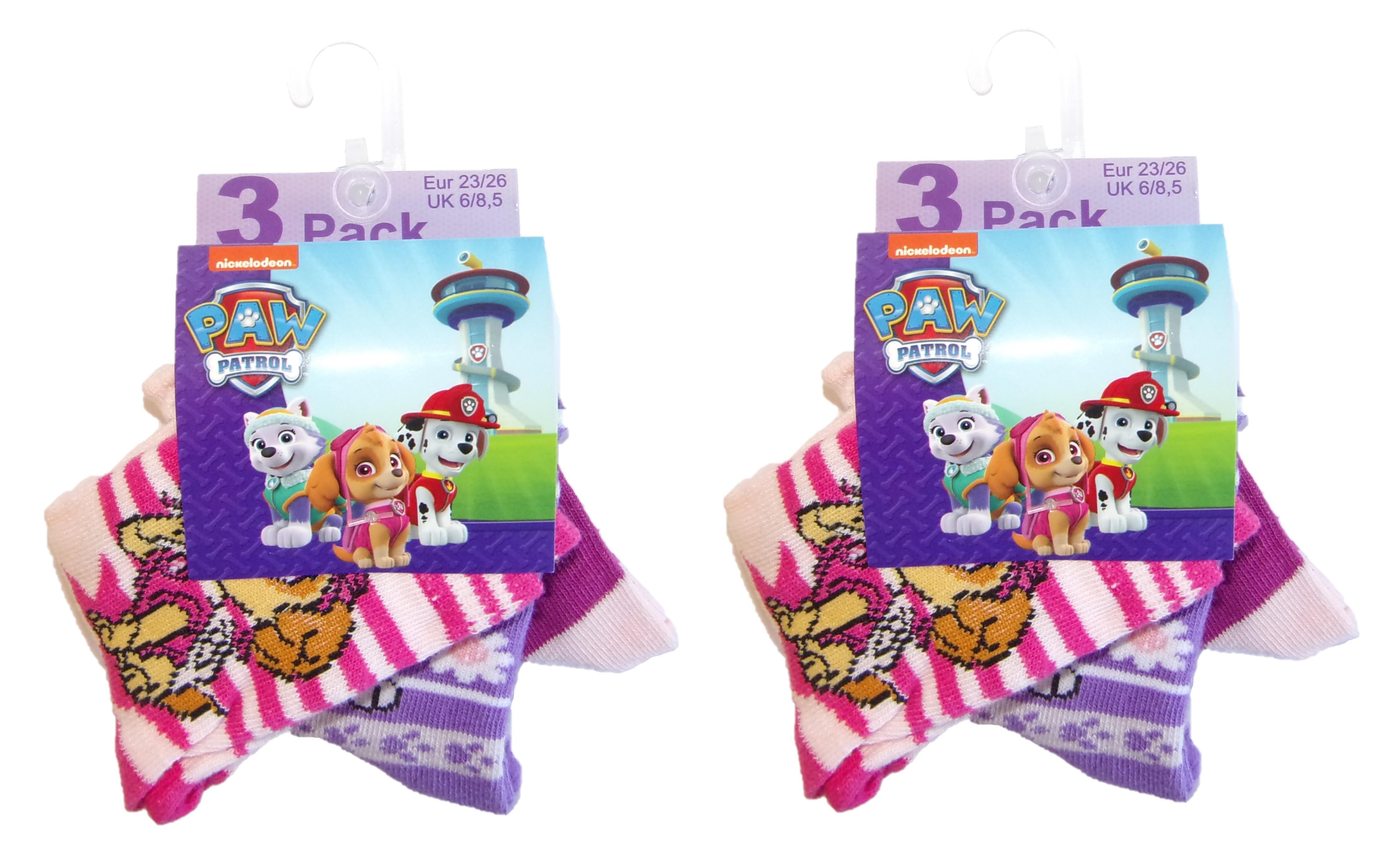 Paw Patrol Mädchen Socken 6er Pack Skye & Everest (23/26)
