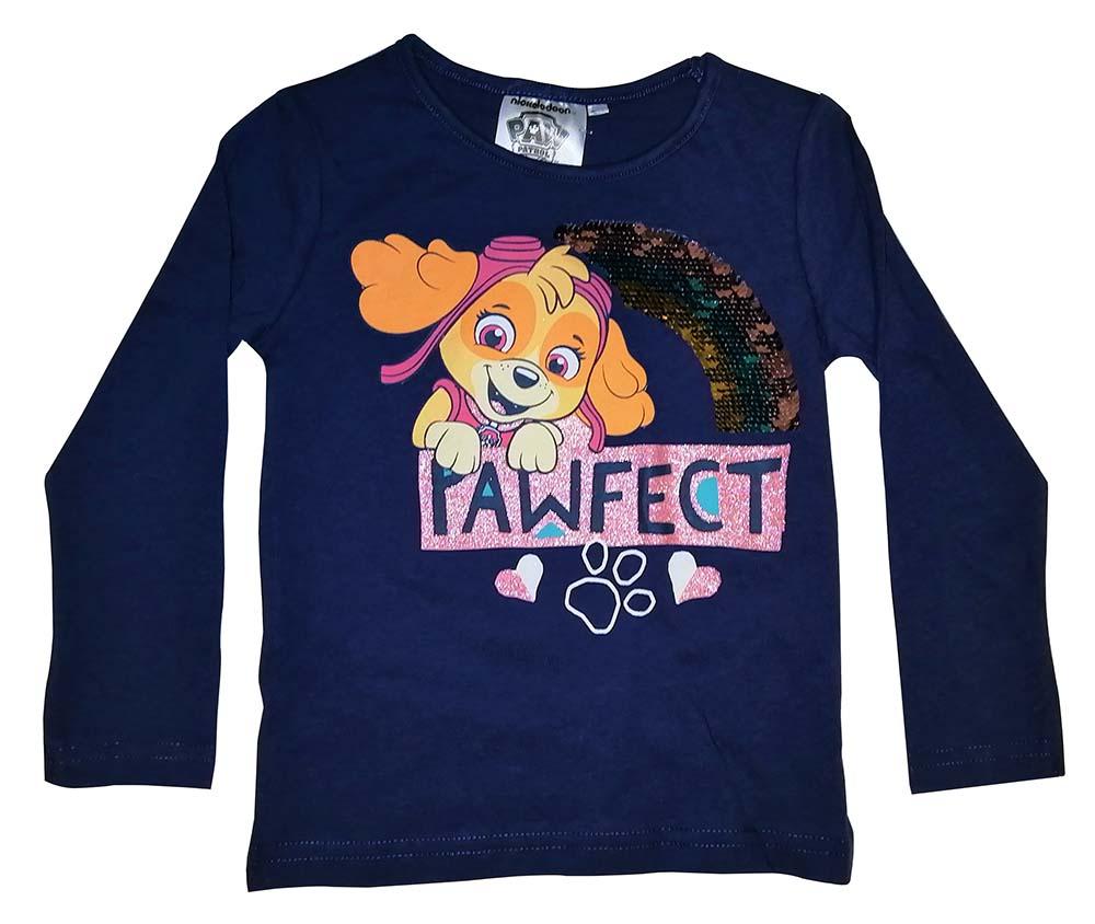 Paw Patrol Langarmshirt Skye mit Paillettenregenbogen blau für Kinder Größe 116