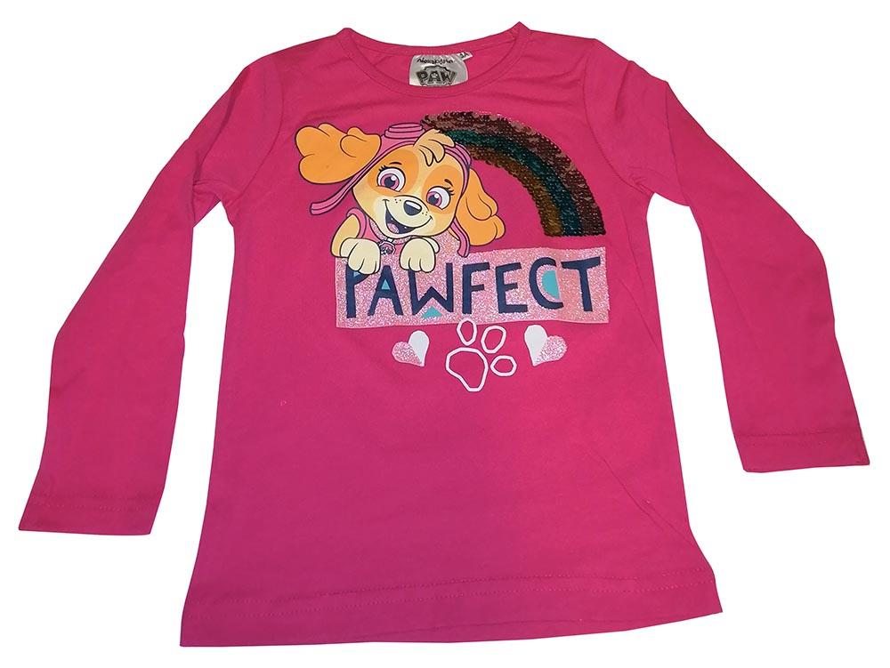 Paw Patrol Langarmshirt Skye mit Paillettenregenbogen pink für Kinder Größe 110