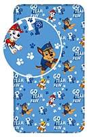 Paw Patrol Spannbettlaken Betttuch Go Team Paw Marshall Rubble Chase Blau 90 cm x 200 cm + 25 cm 100% Baumwolle für Kinder