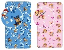 Paw Patrol Spannbettlaken Betttuch blau Chase, Marshall, Rubble oder rosa Skye 90 cm x 200 cm + 25 cm (Auswahl)
