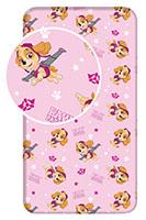 Paw Patrol Spannbettlaken Betttuch mit Skye Rosa 90 cm x 200 cm + 25 cm 100% Baumwolle für Kinder