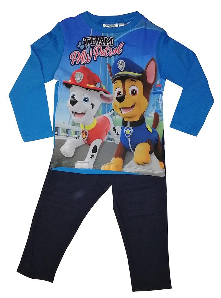 Paw Patrol Team Chase und Marshall Pyjama Lang Blau Größe 116, 100% Baumwolle