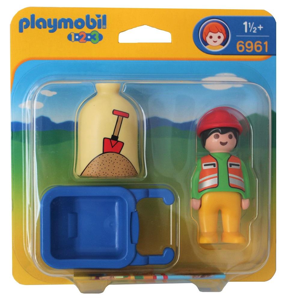 Playmobil 123 Spielset Bauarbeiter mit Schubkarre und Sack 6961