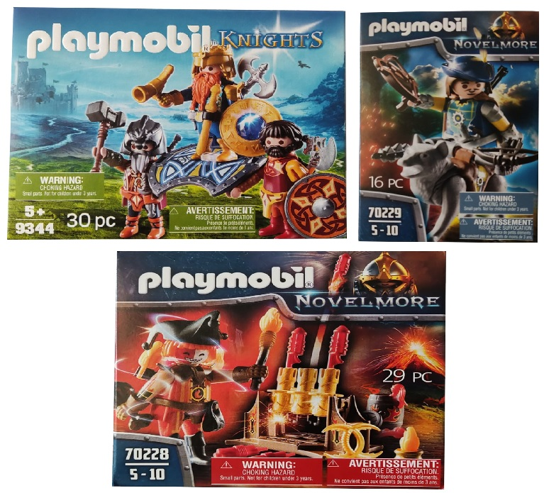 Playmobil 3er-Spielset Zwergkönig Armbrustschütze Feuerwehrskanone Spielfiguren Novelmore Knights 70228, 9344 und 70229