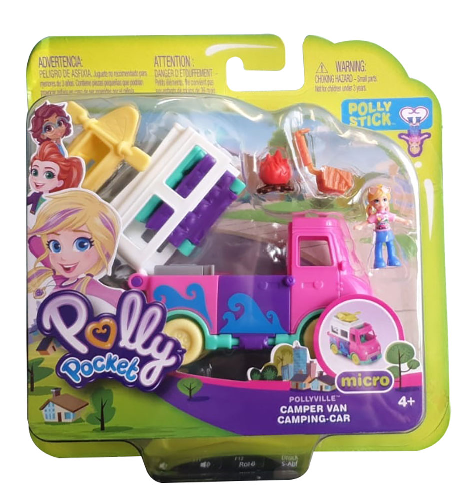 Polly Pocket GKL49 - Pollyville Ferien Camper, buntes Spielset, Sammelfigur