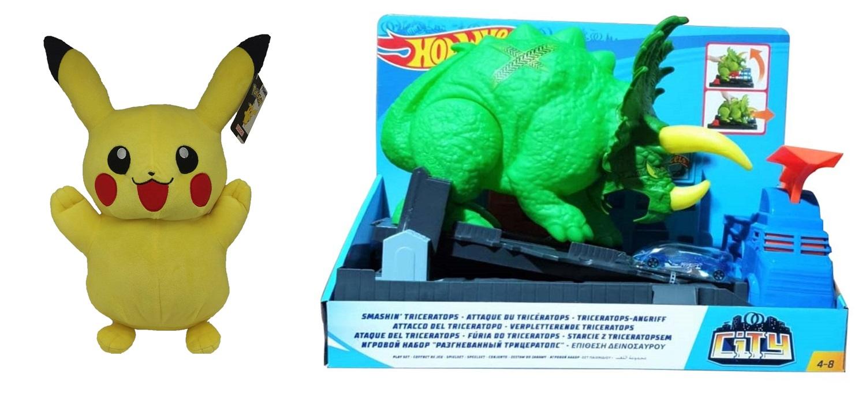 Hot Wheels GBF97 City Triceratops Angriff Dinos Tomy Pokemon Pikachu Plüschfigur