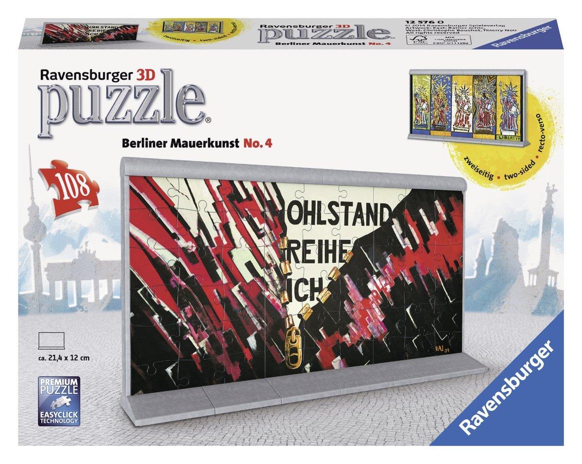 Ravensburger 12576 - Berliner Mauerkunst No.4 - 3D Puzzle Bauwerke, 108 Teile