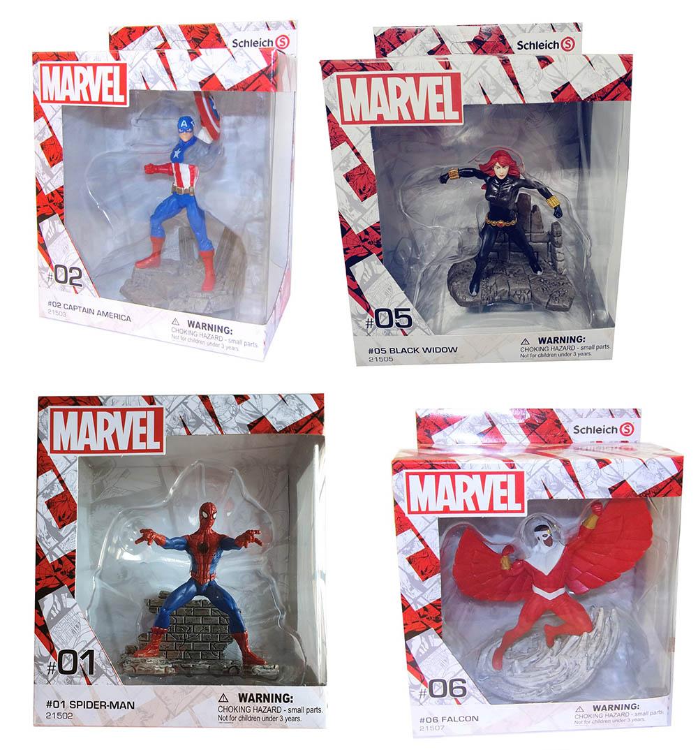 Schleich Marvel Actionfiguren Black Widow Captain America Spider-Man Falcon