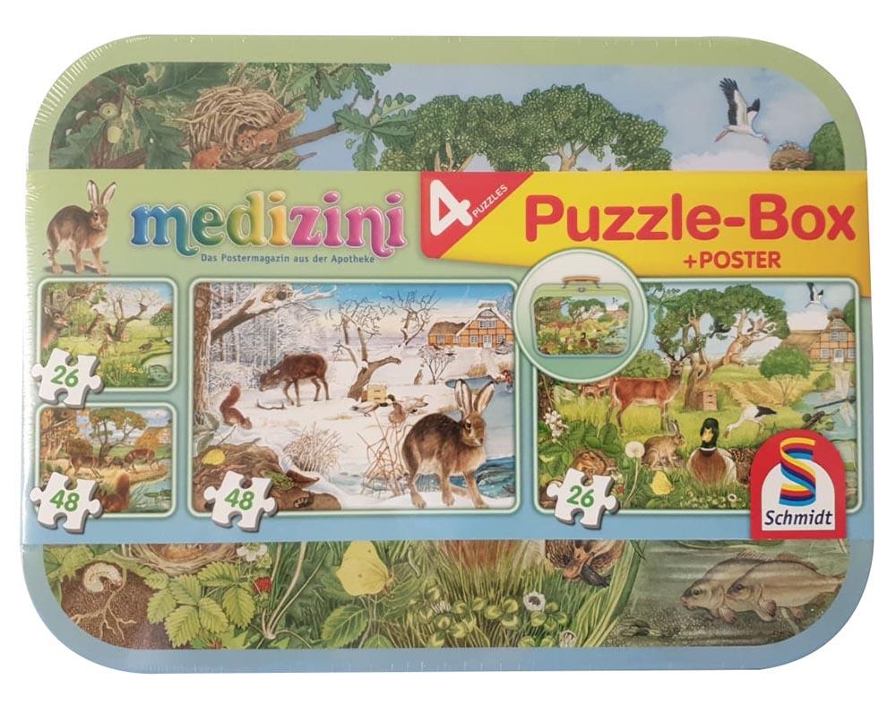 Schmidt Spiele 56494 Medizini 4er Kinder-Puzzle-Box Jahreszeiten im Metallkoffer