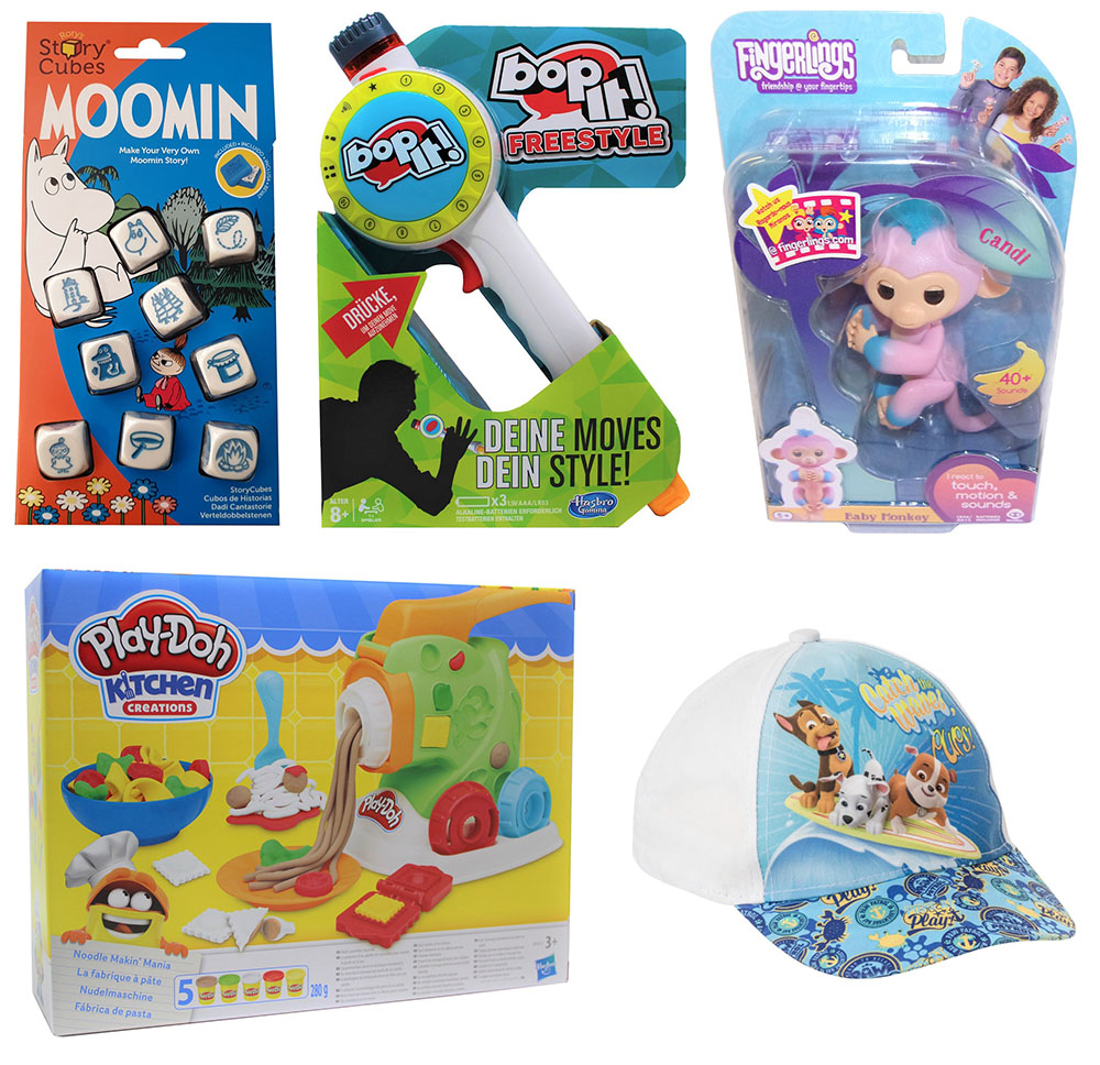 Hasbro Play-Doh WowWee Fingerlings Paw Patrol Rory´s Moomins Würfelbox bop-it!