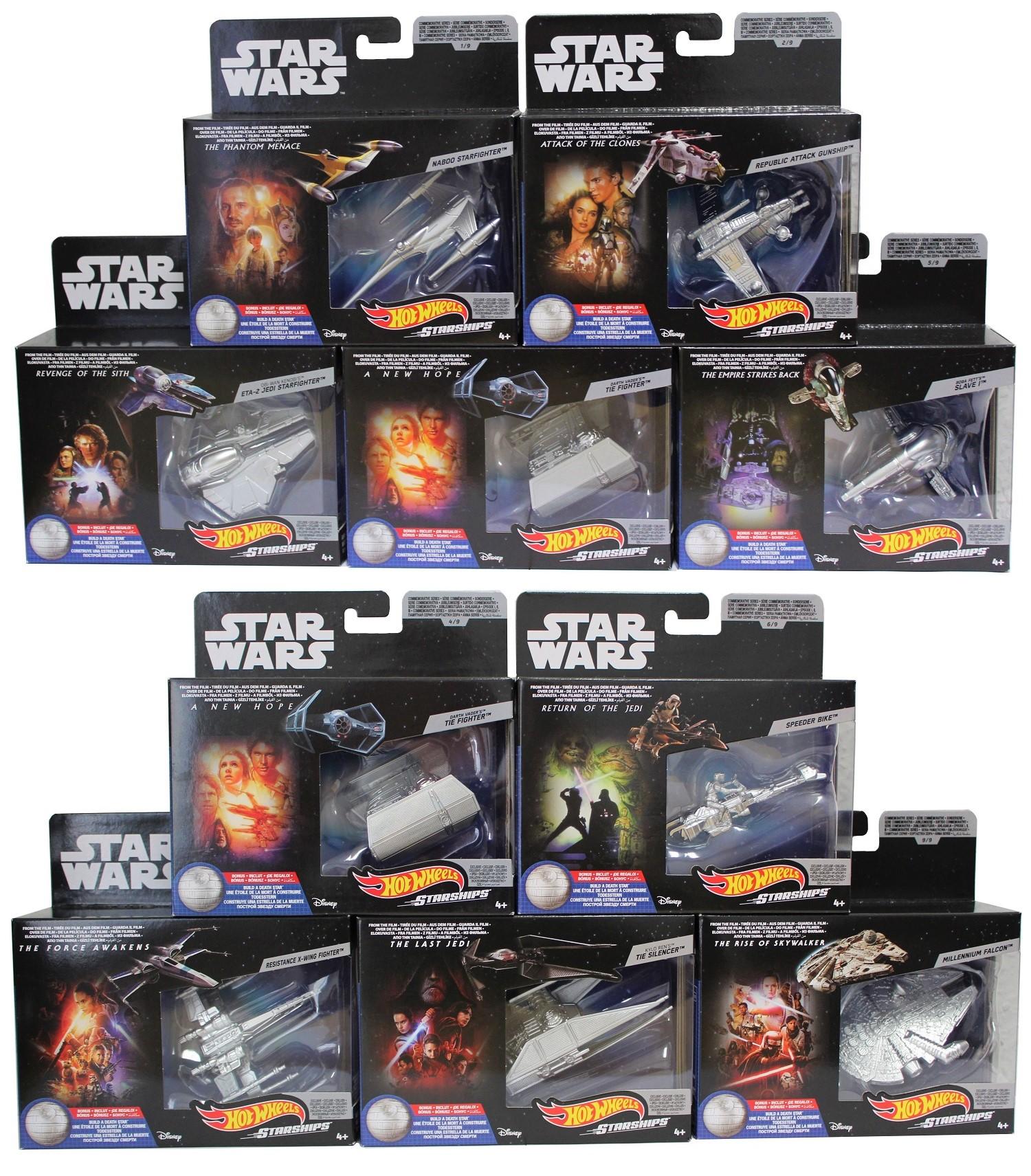 Star Wars Hot Wheels Starships versch. Raumschiffe 5er Set (Auswahl)