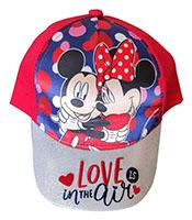 Disney Mickey & Minnie Kappe Mütze Love is in the Air für Kinder mit Glitzerschild, Rot Gr. 52