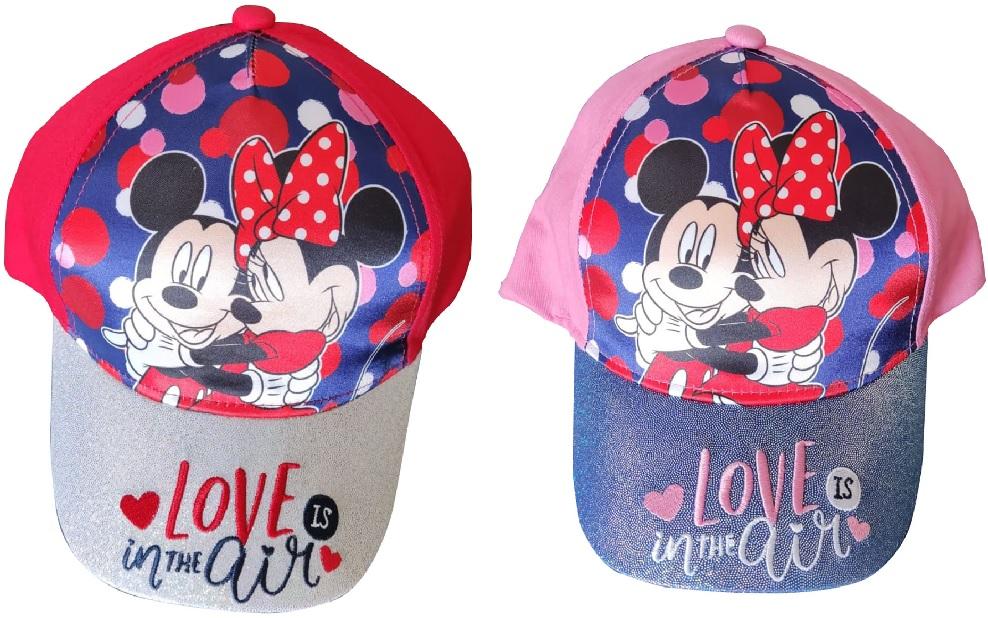 Disney Mickey & Minnie Kappe Mütze Love is in the Air für Kinder mit Glitzerschild (Auswahl)