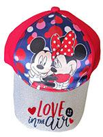 Disney Mickey & Minnie Kappe Mütze Love is in the Air für Kinder mit Glitzerschild rot Gr. 54