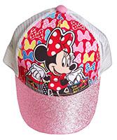 Disney Cap Kappe Basecap Schirmmütze Minnie Maus mit Glitzer-Schirm weiß-pink Größe 52 cm
