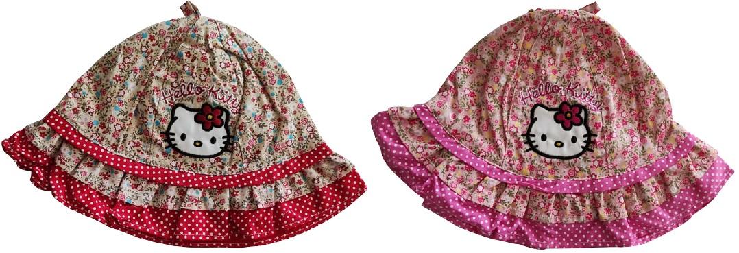 Hello Kitty Mädchen Sonnenhut Kappe Mütze mit Blumen für Kinder Pink Rosa Rot Beige (Auswahl)