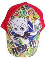 Ben10 Kappe für Kinder, mit Ben und Aliens im Comic Stil, Cappy mit Klettverschluss, Rot Gr. 52