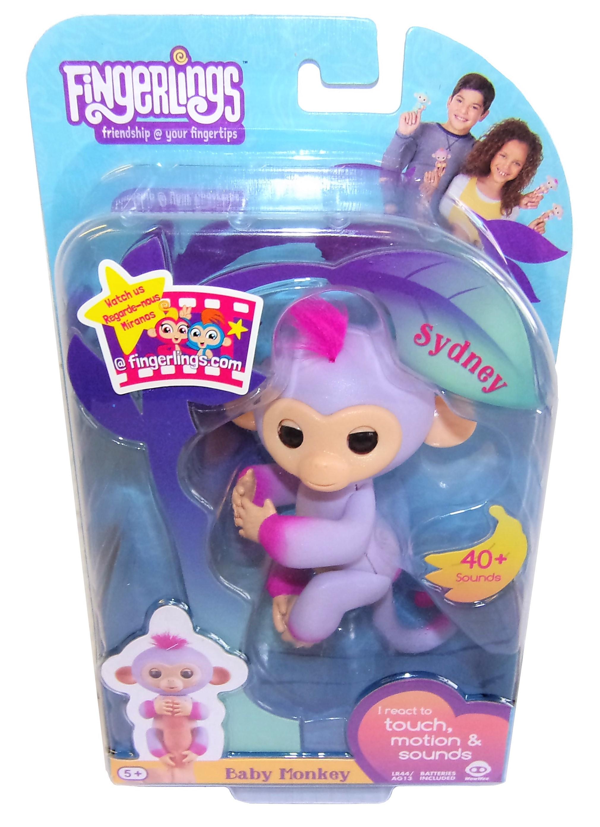 WowWee Fingerlings Äffchen Sidney interaktive Spielfigur lila-pink