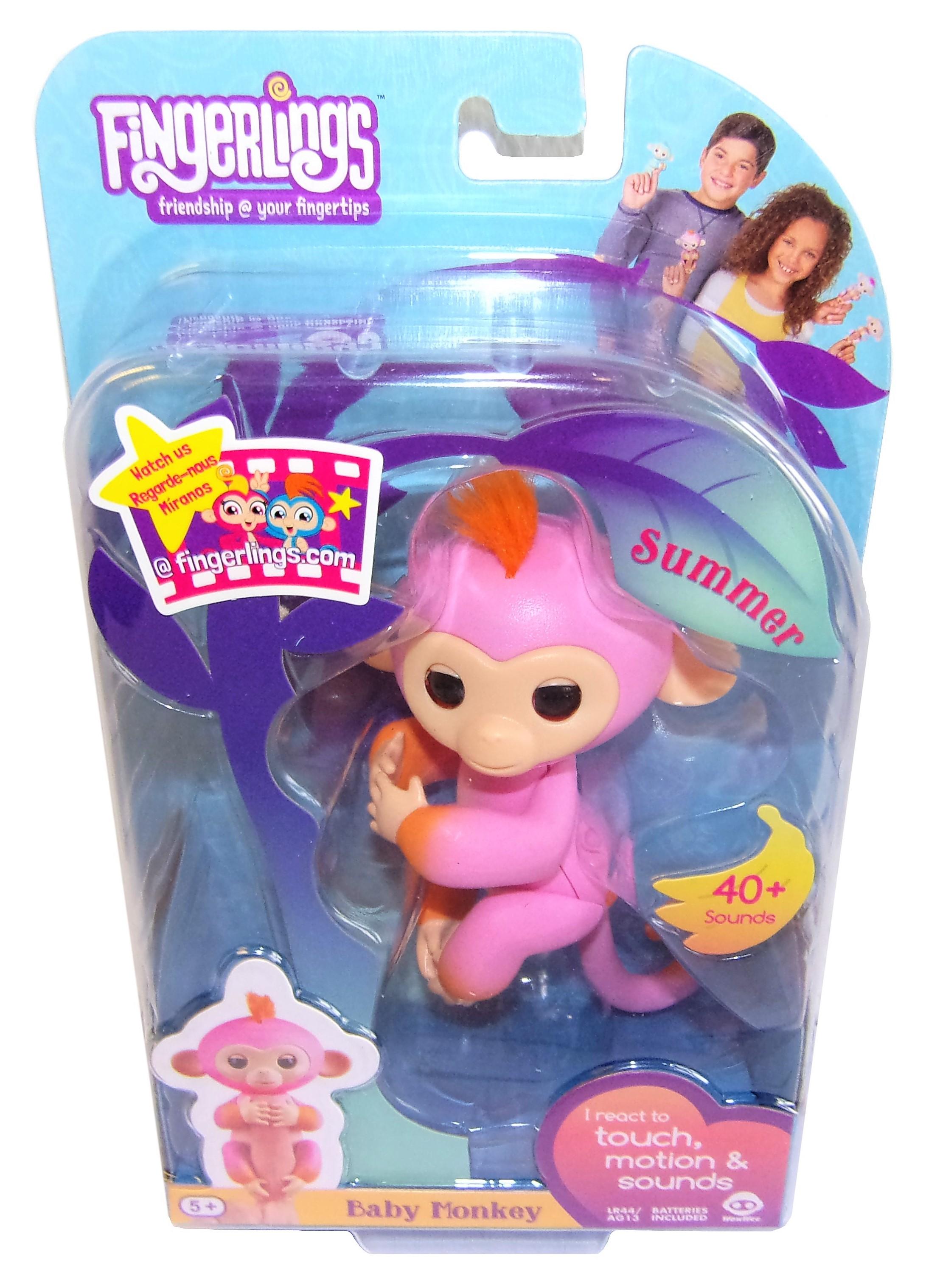 WowWee Fingerlings Äffchen Summer interaktive Spielfigur pink-orange